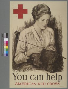 """Poster that has a picture of a woman knitting with the caption """"You can help American Red Cross""""."""